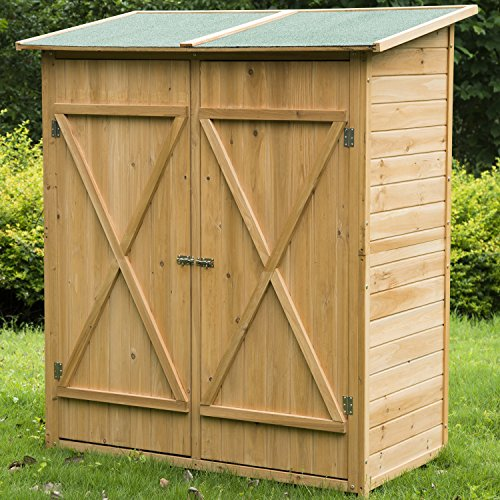 Meuble armoire abri de jardin rangement outils exterieur en bois massif neuf 54 jardin boutique for Placard exterieur