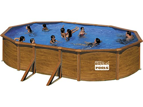 Gre m286643 kitprov503we piscine ovale en acier aspect for Piscine hors sol aspect bois