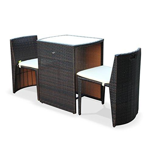 Table de Jardin en résine tressée - Doppio - Chocolat, Coussins écru - 2  Places, encastrable pour Balcon et terrasse