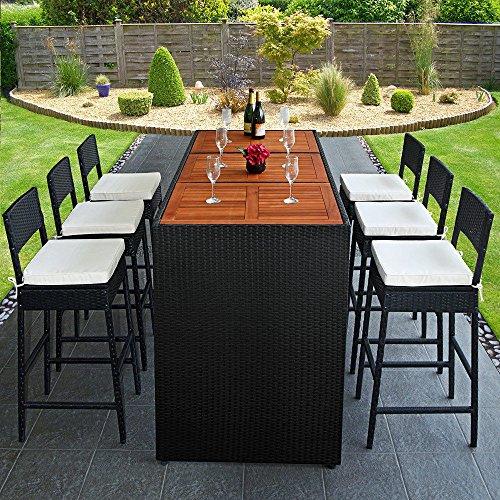 Bar de jardin en r sine tress e noir et bois exotique 6 for Boutique jardin