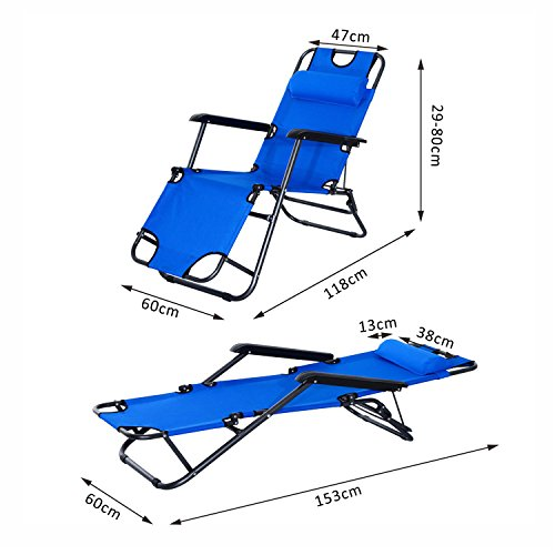 Chaise longue transat 2 en 1 pliant inclinable for Transat bain de soleil pliable