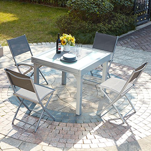 Concept usine molvina 4 table de jardin extensible en for Table de jardin 8 personnes