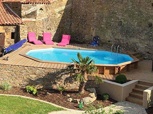 sunbay piscine bois cannelle 5 51 m x 3 51 m x h 1 19 m