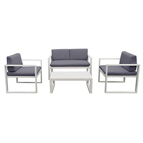 salon de jardin ibiza en tissu gris 4 places aluminum blanc jardin boutique. Black Bedroom Furniture Sets. Home Design Ideas