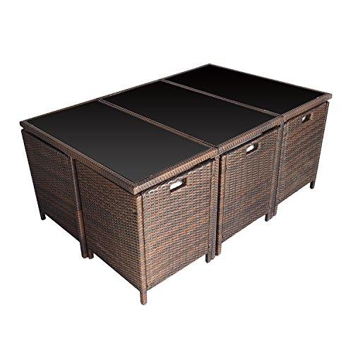 salon de jardin encastrable santorin en r sine tress e marron 10 places coussins blancs. Black Bedroom Furniture Sets. Home Design Ideas