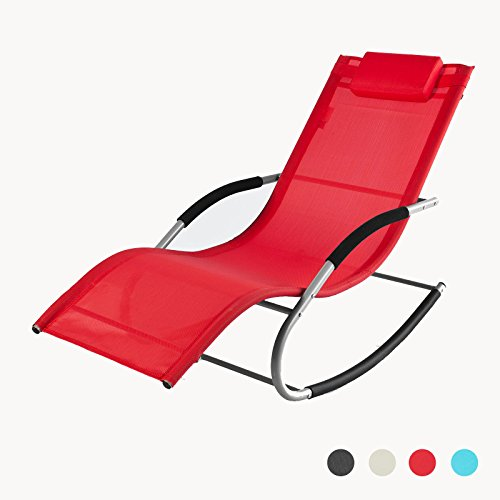 Sobuy ogs28 r fauteuil bascule chaise longue transat de for Bain de soleil fauteuil