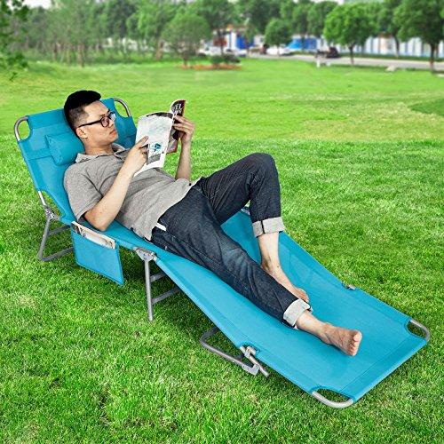 Sobuy ogs10 b chaise longue bain de soleil transat de for Transat de jardin pliant