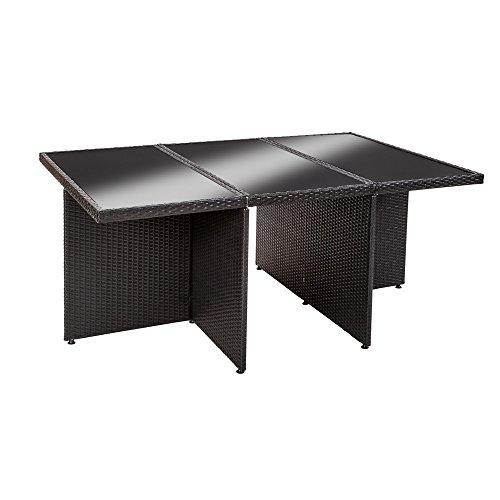 Tectake ensemble salon de jardin en r sine tress e poly rotin aluminium table set 6 1 4 noir - Housse table salon de jardin ...