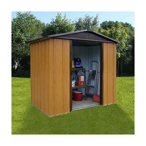 Abri de jardin m tal 4 38 m aspect bois et marron m s for Mobilier de jardin bois et metal