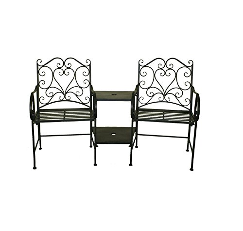 charles bentley ensemble chaises de jardin et table int gr e fer forg noir ou blanc. Black Bedroom Furniture Sets. Home Design Ideas