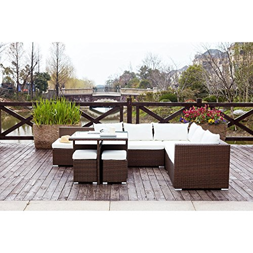 Concept-Usine Fidji Marron/Blanc : salon de jardin encastrable en ...