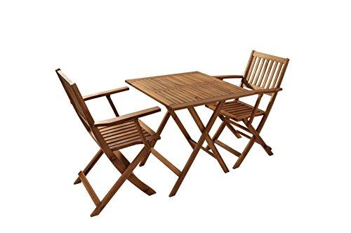 SAM Robuste salon de jardin, 3 pièces, en bois d\'acacia, 1 x table + ...