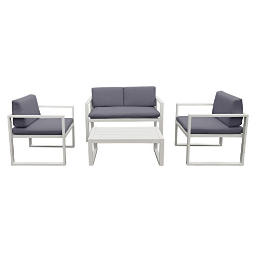 Salon de jardin ibiza en tissu gris 4 places aluminum - Tissu pour salon de jardin ...