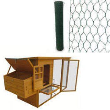 Poulailler Cottage 199 x 76 x 104 cm et Grillage triple torsion  vert L 25 x H 1.50 m OOGarden Poulailler Basse-cour