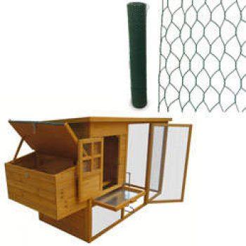 Poulailler Cottage 199 x 76 x 104 cm et Kit filet à poules non électrifiable