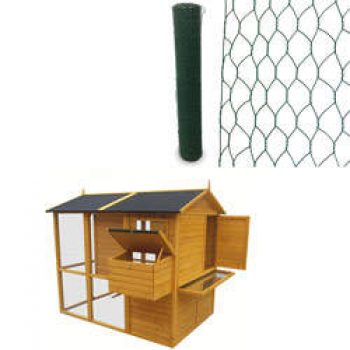 Poulailler Chicken duplex et Grillage triple torsion  vert L 25 x H 1.50 m OOGarden Poulailler Basse-cour