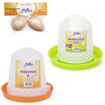 Abreuvoir en plastique 3 L et Nourrisseur plastique 5 kg et 2 oeufs factices PLUME & COMPAGNIE Accessoires Poulailler Basse-cour
