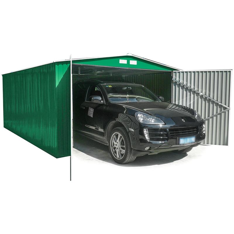 jardin habit box abri garage en t le galvanis e jardin ext rieur 380x420xh232cm garage l. Black Bedroom Furniture Sets. Home Design Ideas