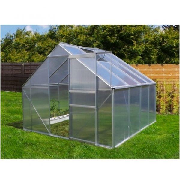jardin serre de jardin m en aluminium avec porte et une fen tre d 39 a ration 250x250 cm. Black Bedroom Furniture Sets. Home Design Ideas
